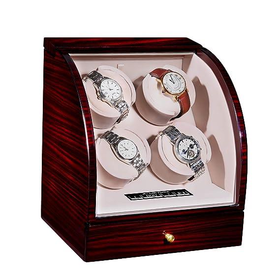 CHIYODA - Cargador automático de cuatro relojes con motor silencioso Mabuchi, pantalla LCD digital para 4 relojes: Amazon.es: Relojes