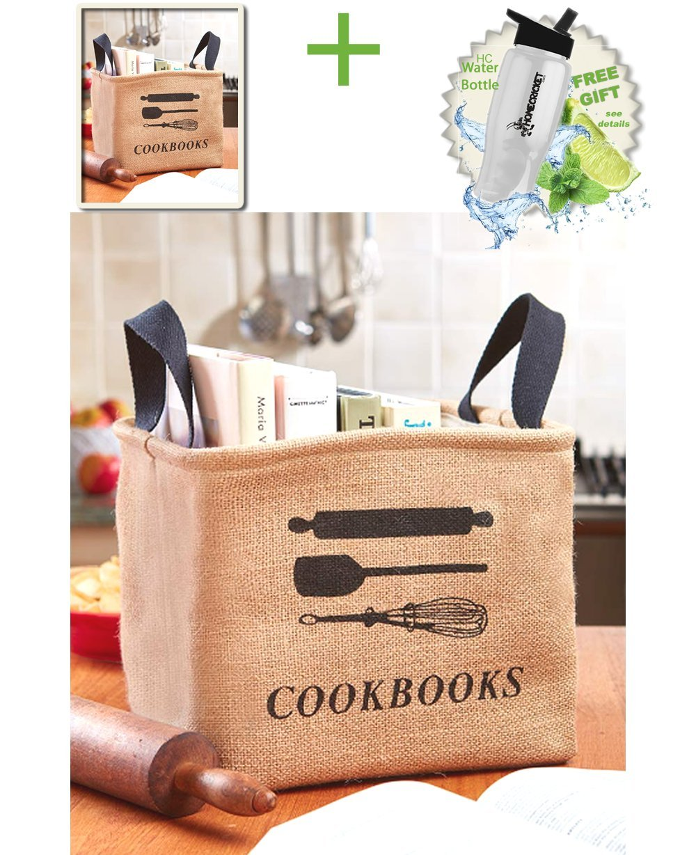 Gift Included- Kitchen Cookbook Recipe Cook Book Storage Bin Tote Bag  + FREE Bonus Water Bottle by Home Cricket Homecricket  by HomeCricket (Image #1)