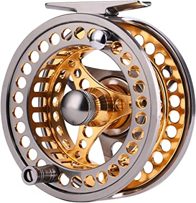 Sougayilang Fly Fishing Reel Large Arbor 2+1 BB with CNC-machined Aluminum Alloy Body and Spool in Fly Reel Sizes 5/6,7/8