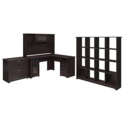 Bush Furniture Cabot L Shaped Desk, Hutch, 16 Cube Bookcase, And Lateral  File
