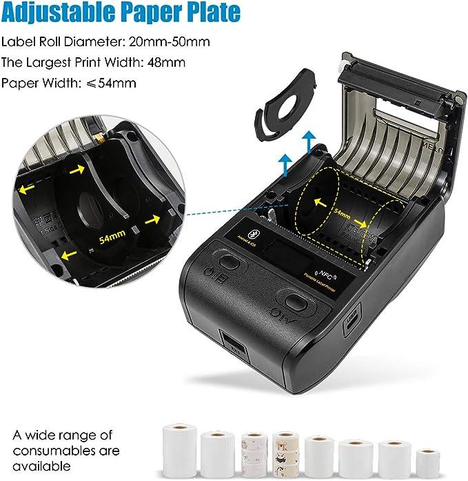 NETUM 58mm impresora de etiquetas portátil con Bluetooth y batería recargable, se aplica al código de barras, almacén de oficina, envío, ropa, etiquetas, impresión NT-G5: Amazon.es: Electrónica