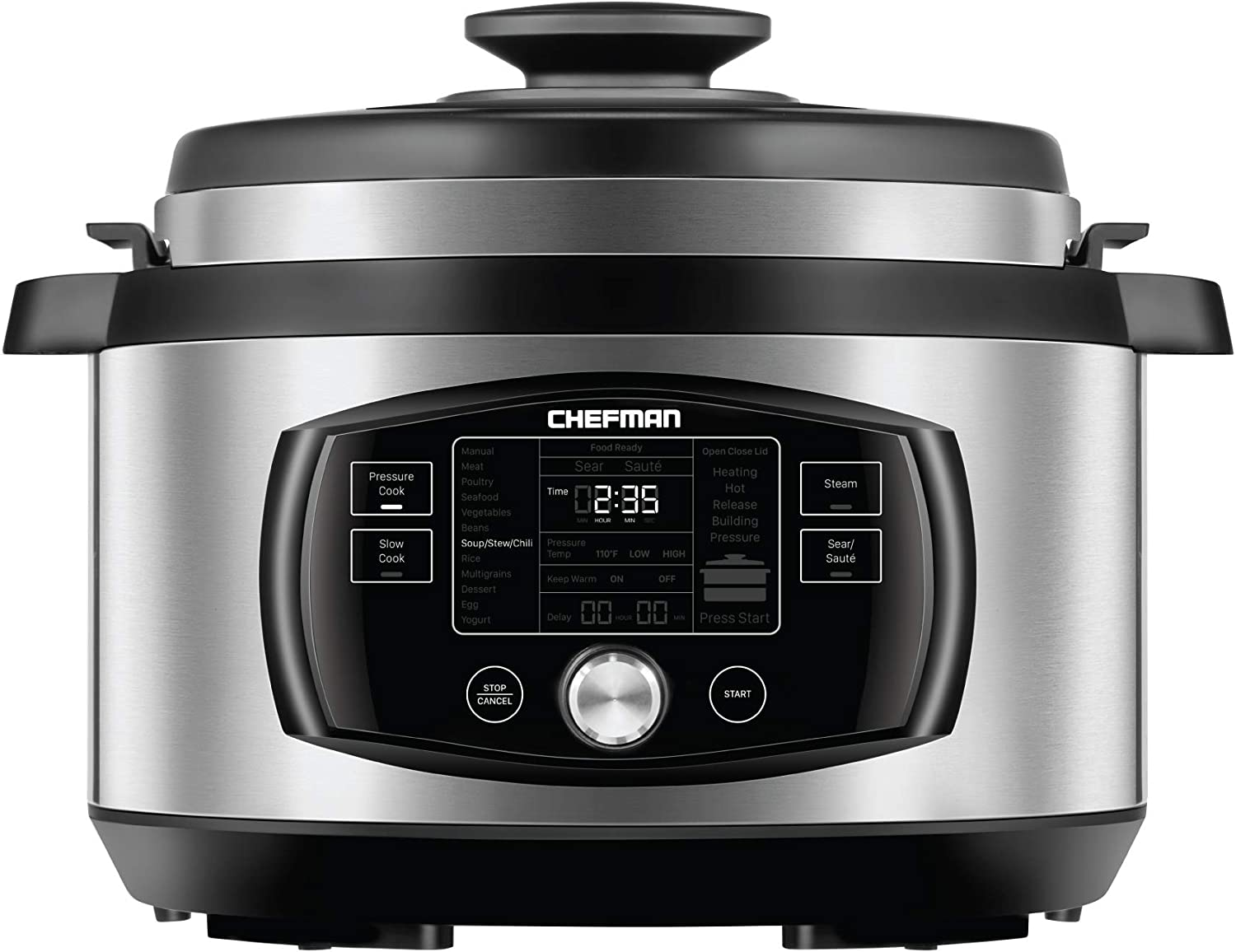 Chefman Multi-Function Oval Pressure Cooker 8 Quart Extra Large Programmable Multicooker, 18 Presets to Slow Cook, Sauté, Steam, Sear, Nonstick Pot, Accessories & Recipe Book Included, Stainless Steel