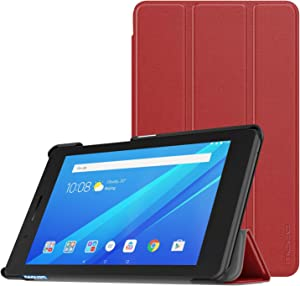 MoKo Case for Lenovo Tab E7, Ultra Compact Protection Slim Lightweight Smart Shell Stand Cover for Lenovo Tab E7 7 Inch 2018 Release Tablet - Red