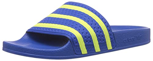 cad7ebfda587 adidas Originals Men s Adilette Blue and Light Flash Yellow Flip Flops  Thong Sandals - 14 UK