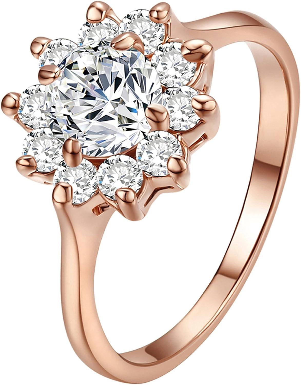 Yoursfs Fabuloso 1CT Emulational Diamante de Girasol 18 K Chapado en Oro Rosa Mujeres Anillos de Boda ¡