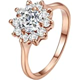 Yoursfs Fashion Jewellery Women 18ct Rose Gold Plated Lovely Sunflower Shape Austrian Crystal Rings Engagement Gift …