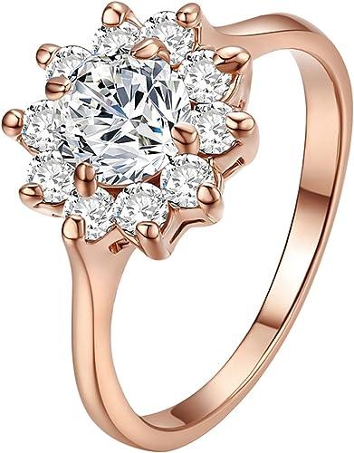 Anello da donna, bellissimo, finto diamante da 1 carato, motivo: girasole, placcato in oro rosa 18k, R455R1-7RE