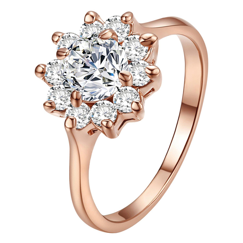 fccd1417e467 Yoursfs Fabuloso 1CT Emulational Diamante de Girasol 18 K Chapado en Oro  Rosa Mujeres Anillos de Boda ¡  Amazon.es  Joyería