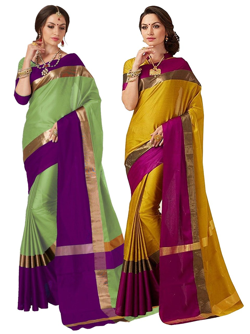 ELINA FASHION Pack Two Sarees Indian Women Cotton Art Silk Printed Weaving Border Saree    Sari Combo (Multi 9)