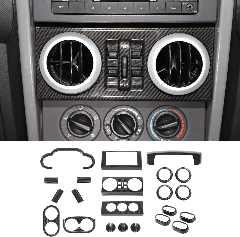 JeCar Interior Decoration Trim Kit 22 PCS, Steering Wheel Cover Dashboard Panel Cover Air Conditioner Trim for 2007-2010 Jeep Wrangler JK JKU Sport Sahara Rubicon X, Carbon Fiber Texture