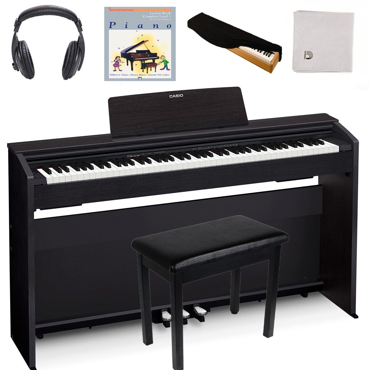 Casio PX870 Black | Super Bundle | Includes Headphones + Piano Bench + Polishing Cloth + Piano Dust Cover + Lesson Book by Casio PX870