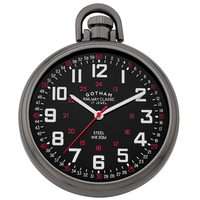 Gotham Men's Stainless Steel Gun-Plated Mechanical Hand Wind Railroad Style Pocket Watch # GWC14106BBK