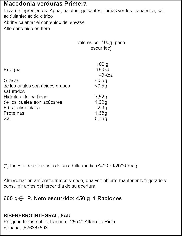 Gvtarra Macedonia de Verduras Frasco, 720ml