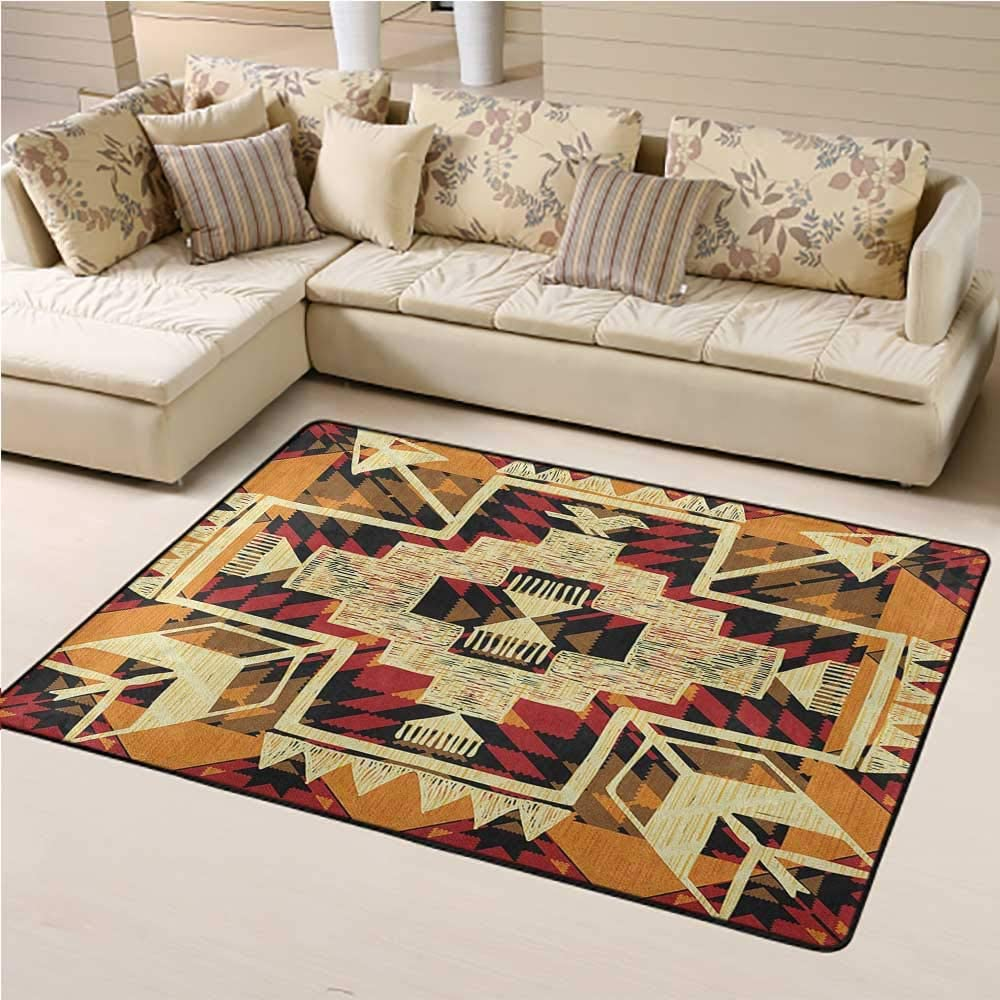 Outdoor Rug Arrow Floor Mat for Office Chair Carpet Native American Inspired Retro Aztec Pattern Mod Graphic Design Boho Artwork 5 x 7 Ft Red Orange Yellow