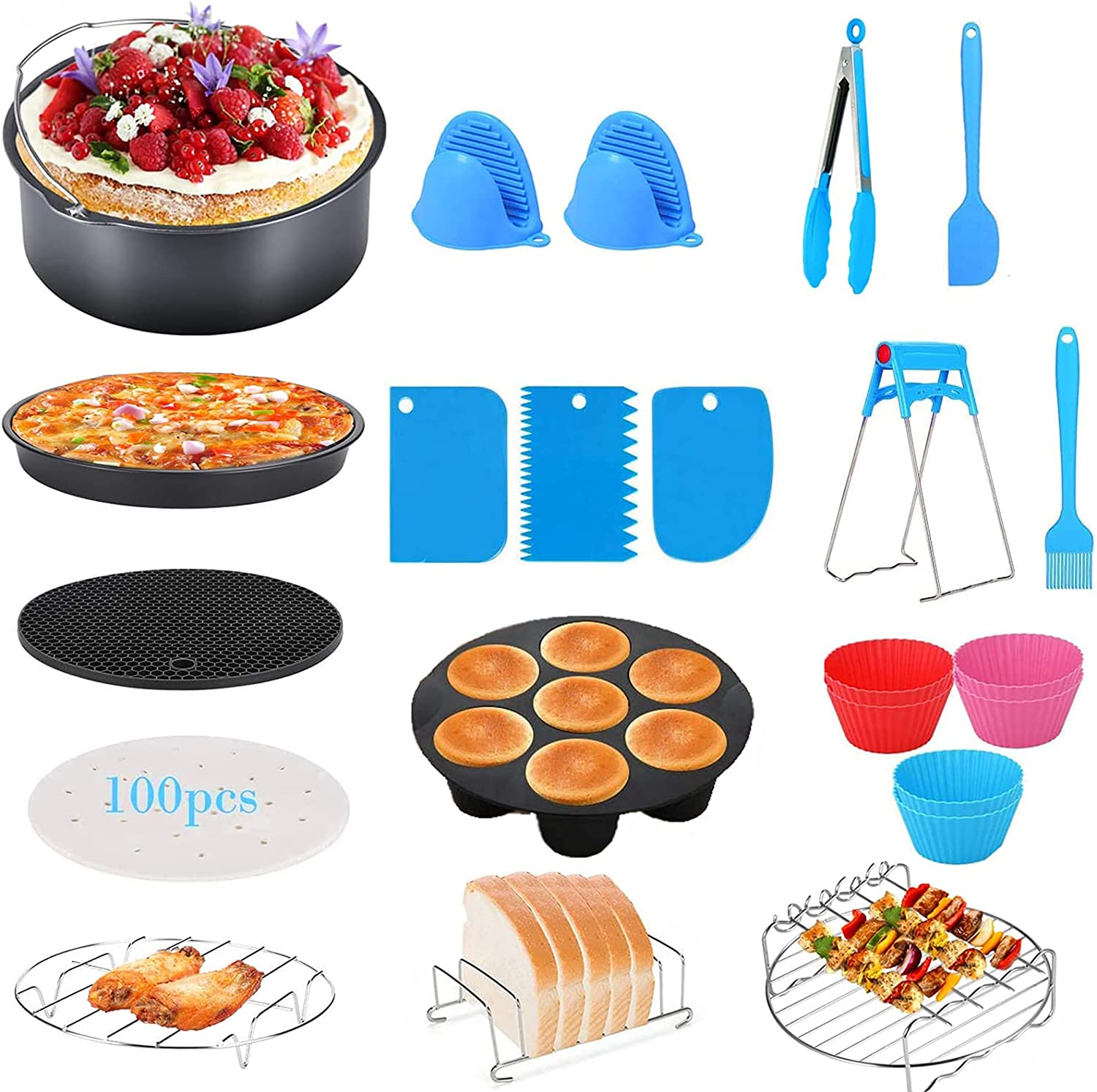 8 Inch Air Fryer Accessories XL,Set of 17 Deep Fryer Accessories with Pizza pan and Cake Barrel for Gowise Ninja Cosori Cozyna NuWave 4.2QT 5.3QT 5.5QT 5.8QT