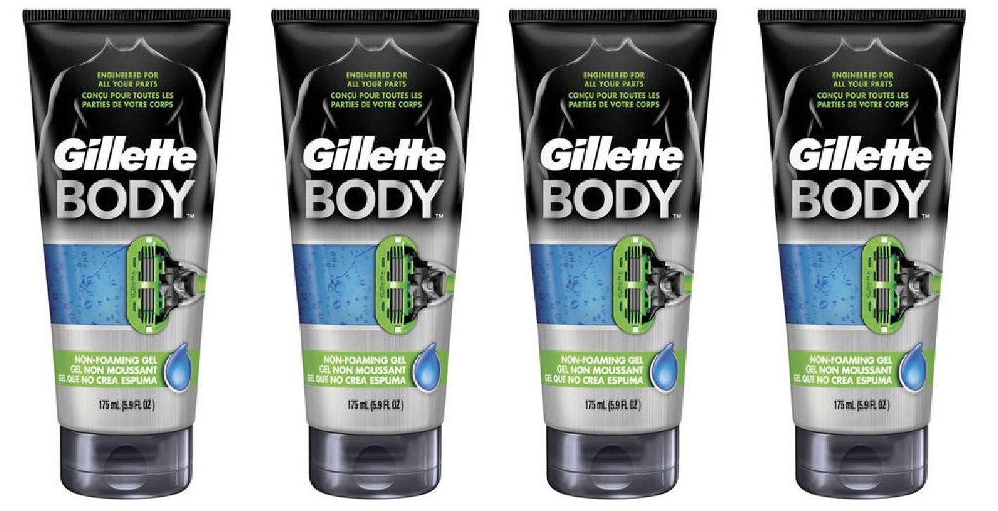 Gillette Body Non Foaming Shave Gel for Men, 5.9 Fl Oz (4 Pack) + FREE Assorted Purse Kit/Cosmetic Bag Bonus Gift