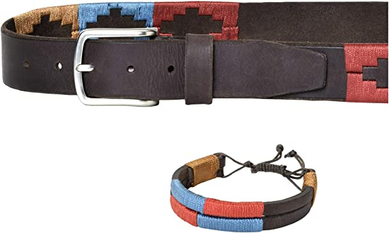 PELPE- Cinturón argentino de piel, con pulsera a juego. Cinturón ...