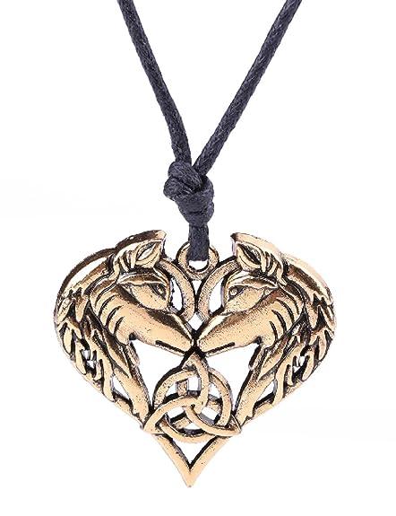 a9768f8a1e Fashion Viking Irish Knot Animal Wolf Heart Shape Pendant Necklace Jewelry  (Antique Gold)