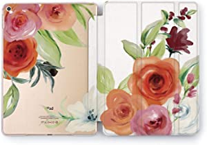 Wonder Wild Case Compatible with Apple iPad Cover Painted Rose Pro 9.7 inch Leaves Pastel Flower Pink Mini 1 2 3 4 Air 2 10.5 12.9 Tablet 11 10.2 6th Plants Red Colorful Pattern Floral Clip Watercolor
