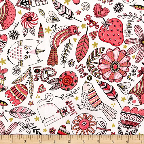 RJR Fashion Fabrics Doodle Pop Doodle Play Metallic Coral Fabric by The ()