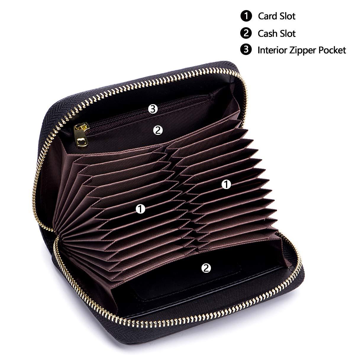 imeetu Women/men RFID Blocking Leather Credit Card Holder case Accordion Wallet 24 Slots Purses with Zipper Pocket(Wine Red) by imeetu (Image #4)