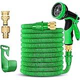 Soar Tubo da Giardino per Irrigazione Professionale Tubo Acqua in Lattice Estendibile Raccordi in Ottone con 9 Funzione di Spruzzo 15M