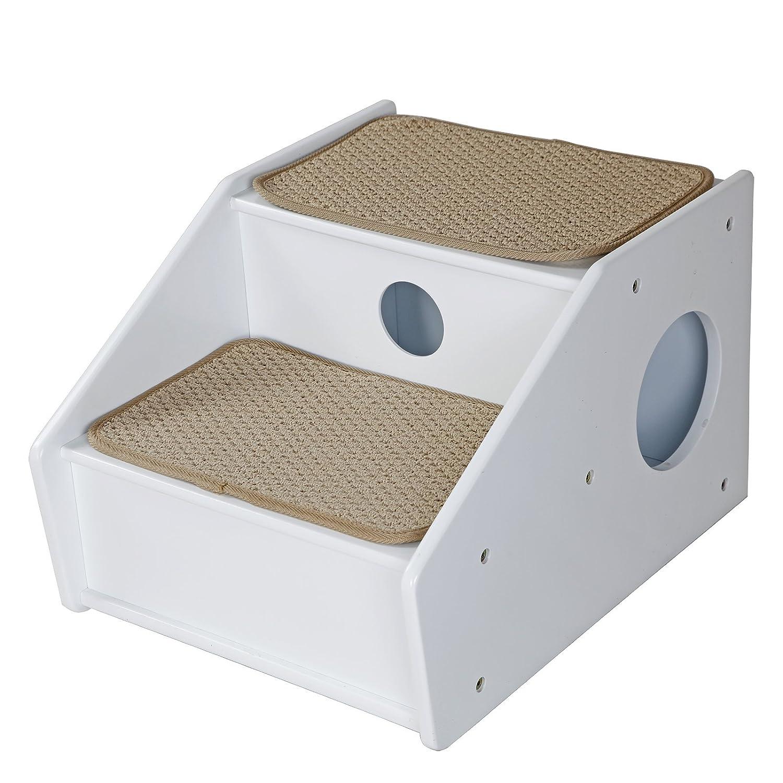 Petsfit Escaliers pour animaux en bois, 2 étapes en sisal, Escaliers de 2 étapes pour les chiens, Échelle grimpeur pour les chiens, Escaliers pour plus ancien ou petits chiens, Blanc, 53cm x 43cm x 35cm Xiamen JXD E-Commerce Co. Ltd.
