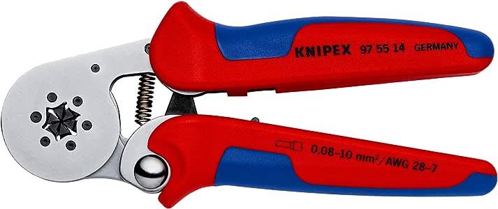 KNIPEX 97 55 14 - Alicate autoajustable para crimpar punteras huecas de acceso lateral con fundas multicomponentes cromado, 180 mm: Amazon.es: Bricolaje y herramientas