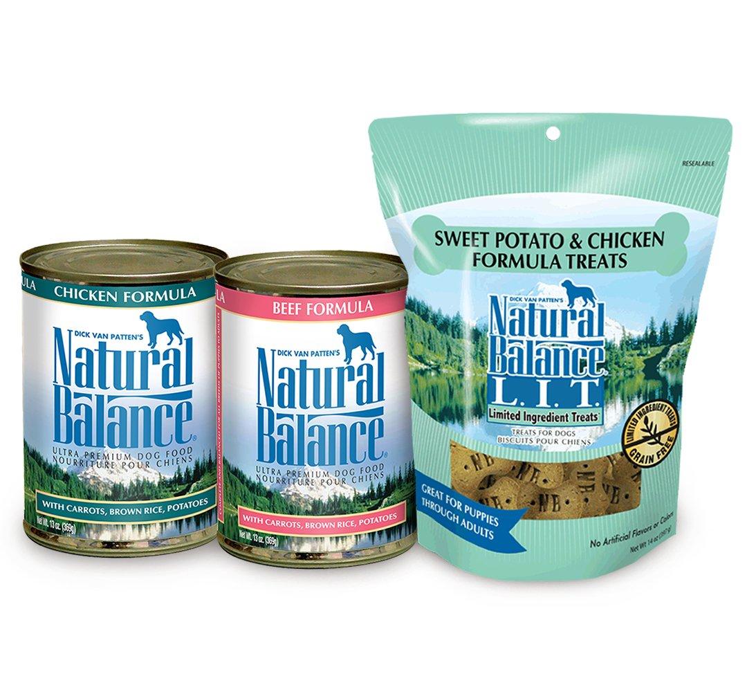 Natural Balance Ultra Premium Beef Formula & Chicken Formula Wet Dog Food Bundle, Plus Limited Ingredient Sweet Potato & Chicken Formula Dog Treats by Natural Balance