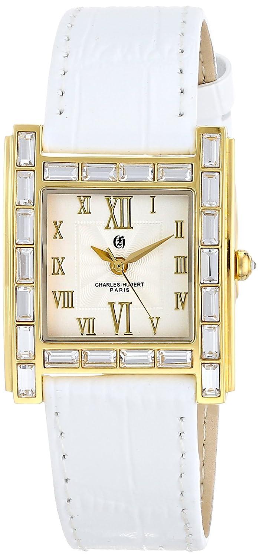 Charles-Hubert-Paris Damen-Armbanduhr Armband Kalbsleder Weiß GehÄuse Edelstahl Quarz Analog 6900-L