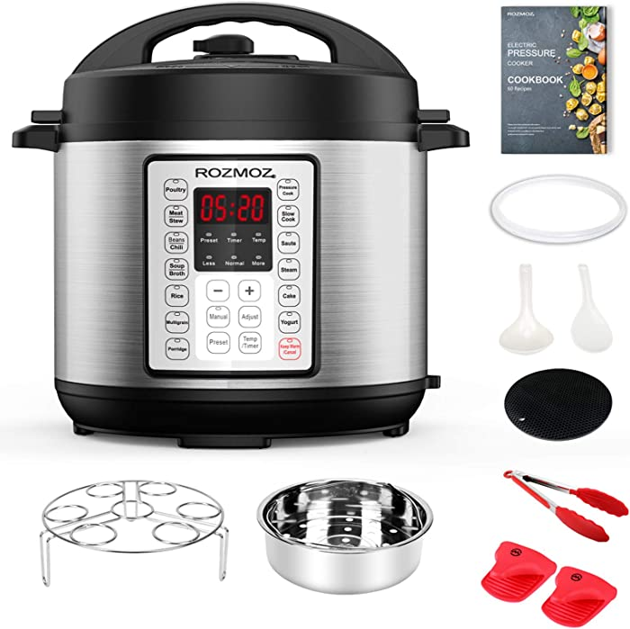 Rozmoz 14-in-1 Electric Pressure Cooker Instant Programmable Pressure Pot, 6 Quart, Stain-Resistant Slow Cooker, Steamer, Saute, Yogurt Maker, Egg Cook, Sterilizer, Warmer, Rice Cooker with 10 Deluxe Accessory kits (Pressure Cooker, 6QT)