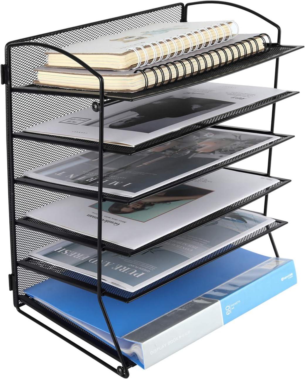 EasyPAG 6 Tier Mesh Desktop File Organizer Document Letter Paper Tray Holder for Office or Home, Black