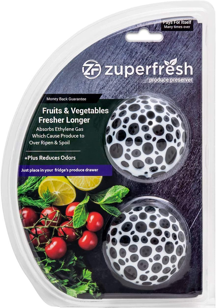 Zuperfresh Produce Saver Kit, Extend the Life of Your Fruits & Vegetables, Absorbs Ethylene Gas Which Cause Produce to Over Ripen & Spoil