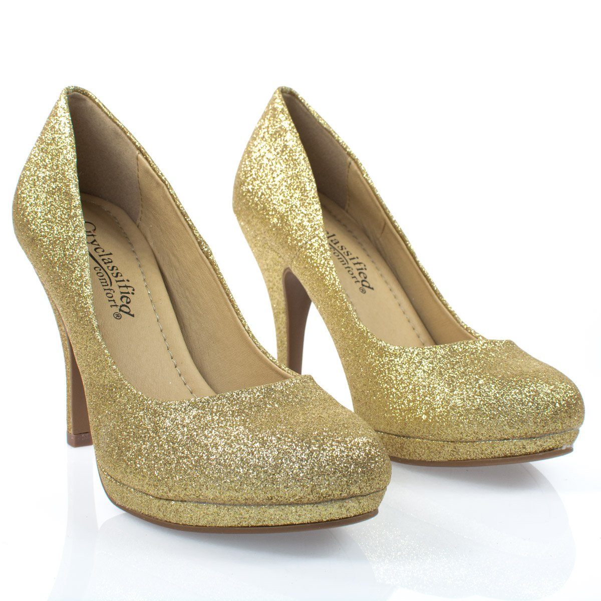 Women's Classic Dress Pump W Extra Cushioned in Sole Round Toe & Platform,Goldglt,8 by City Classified (Image #3)