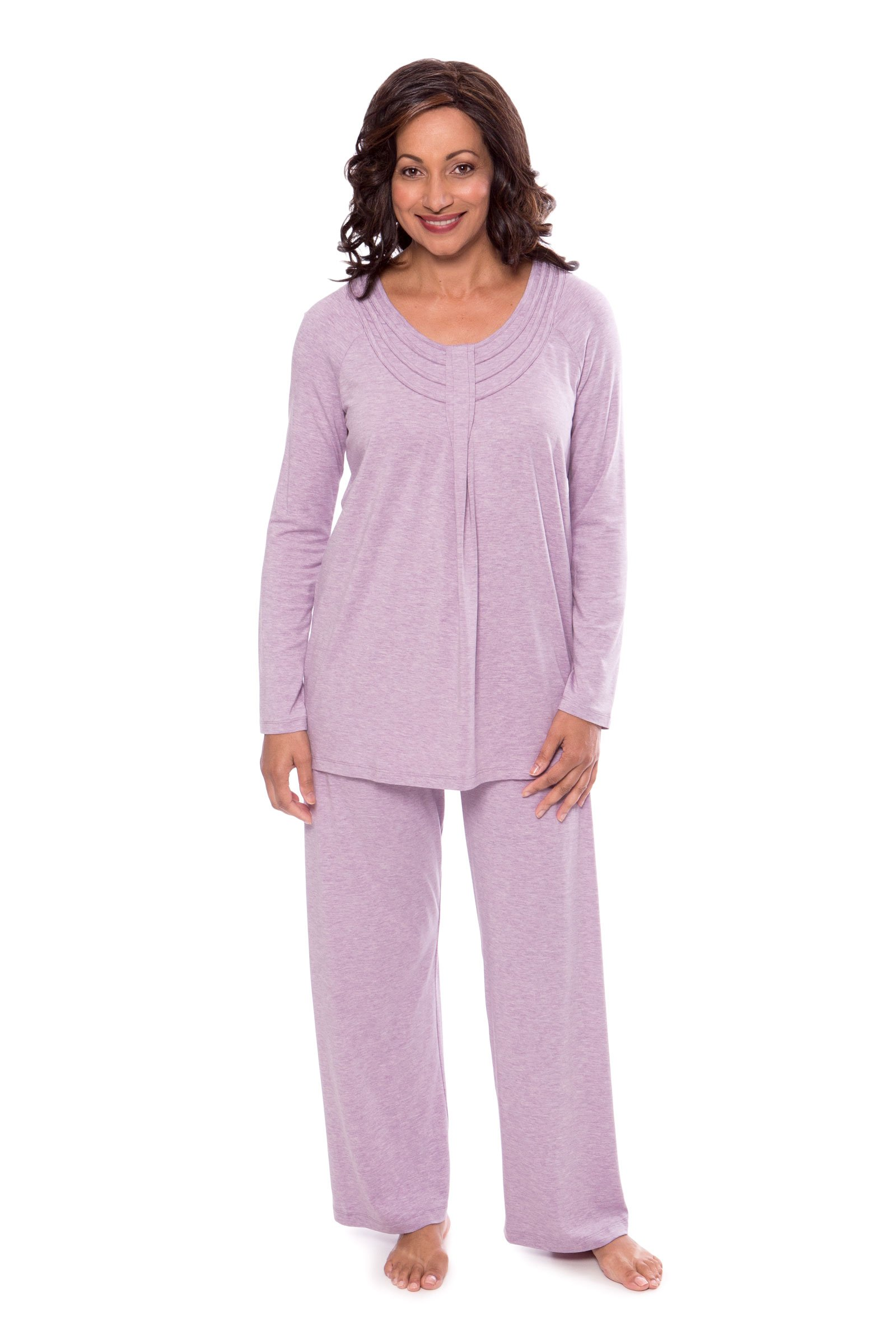 Texere Women's Long Sleeve Pajama Set (Heather Lilac, Medium) Comfortable Sleepwear PJ Sets for Juniors Ladies Women WB9996-2P1-M