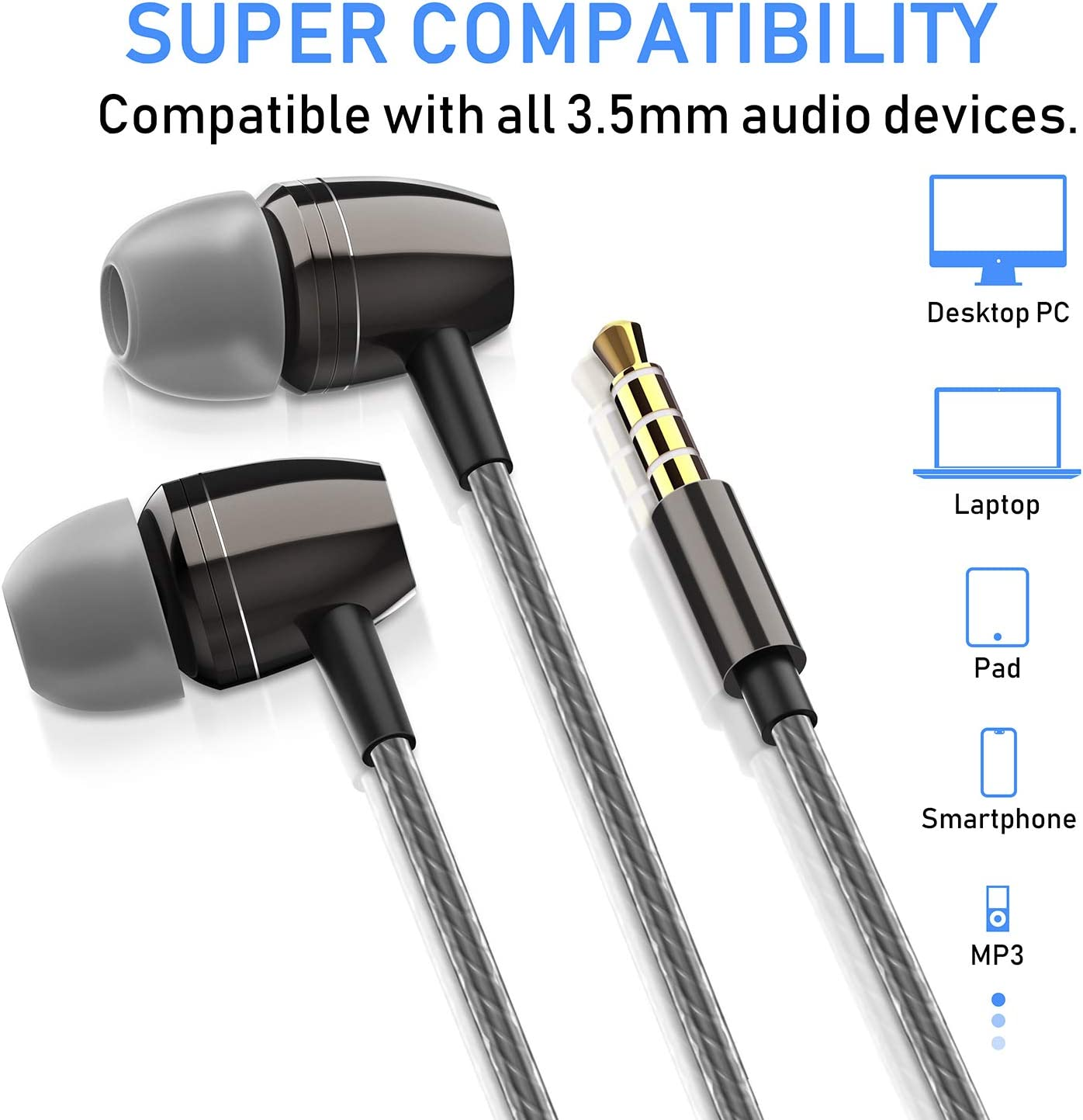 Blukar Auricolari, Ear Auricolari Cuffie Stereo in Metallo