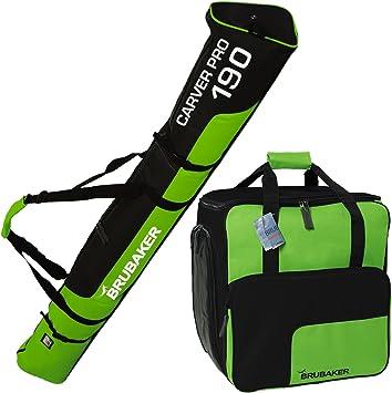 Brubaker Kombi Set Champion Skisack und Skischuhtasche für 1 Paar Ski 170 cm oder 190 cm Schuhe Helm Schwarz Grün Stöcke