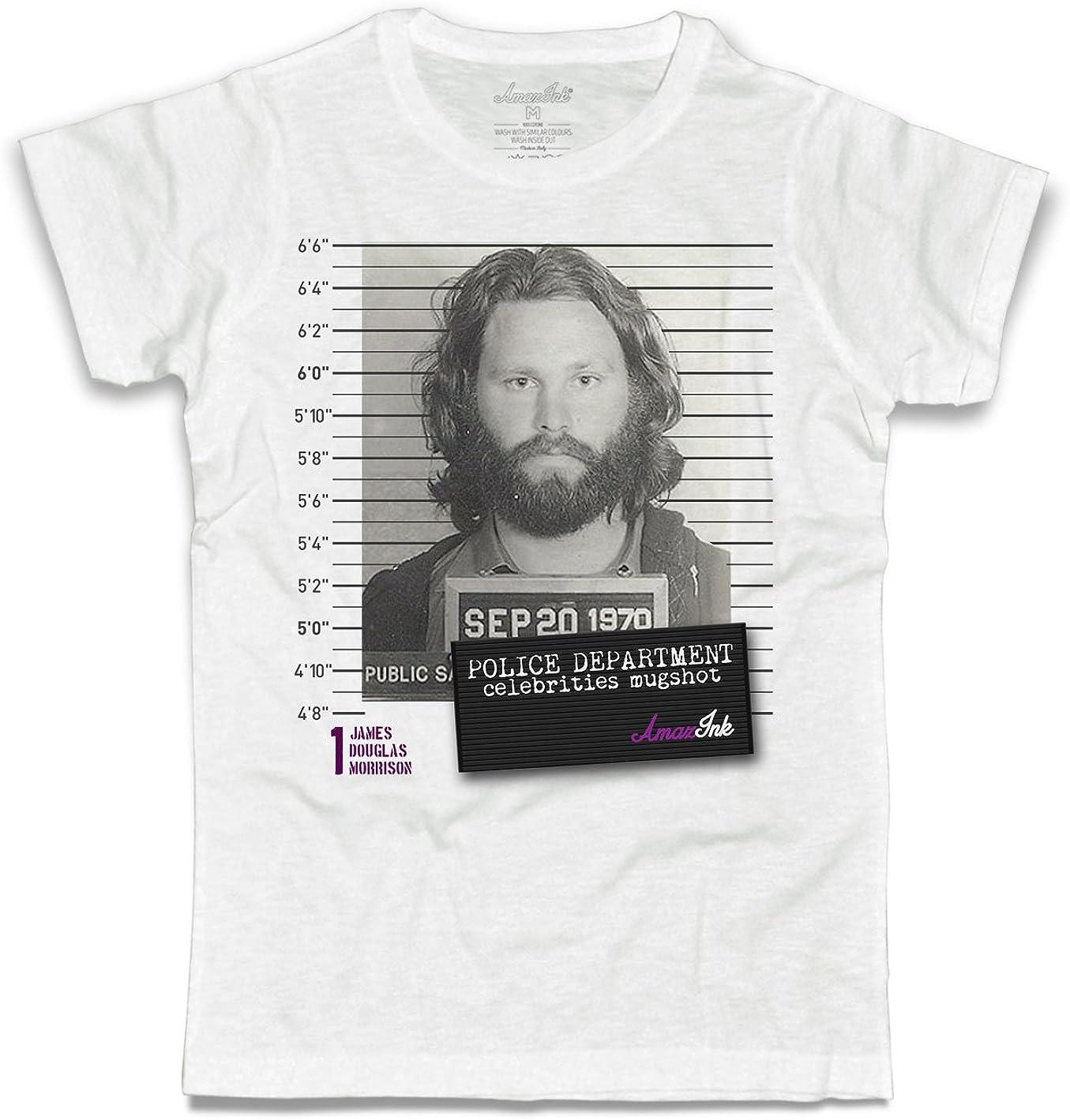 T-shirt donna Jim Morrison Doors foto segnaletica celebrities mugshot Amazink