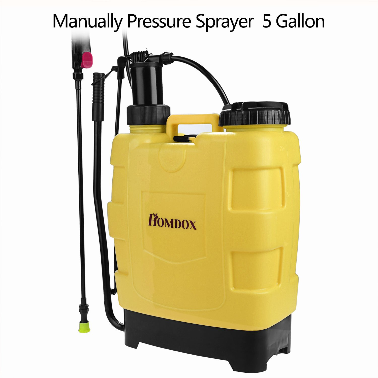 Homdox Sprayer Backpack Sprayer Lawn Garden Farm Sprayers Pump Sprayer Garden Lawn with Steel Wand and 3 Different Nozzles (20 L, Yellow)