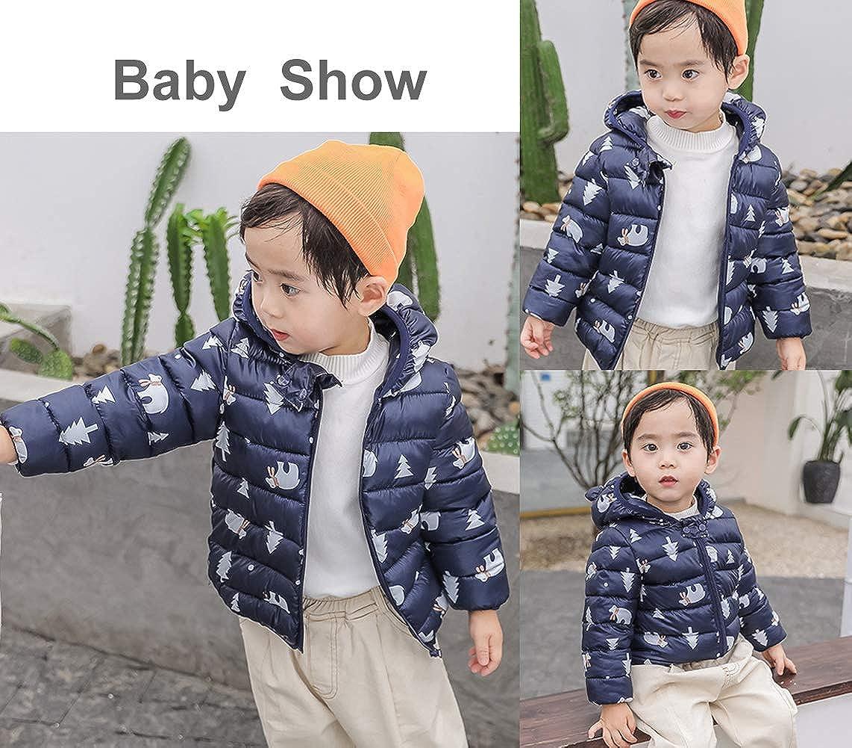 FEOYA Kids Lightweight Cotton Down Puffer Jacket Vest Pattern Winter Outerwear with Ears