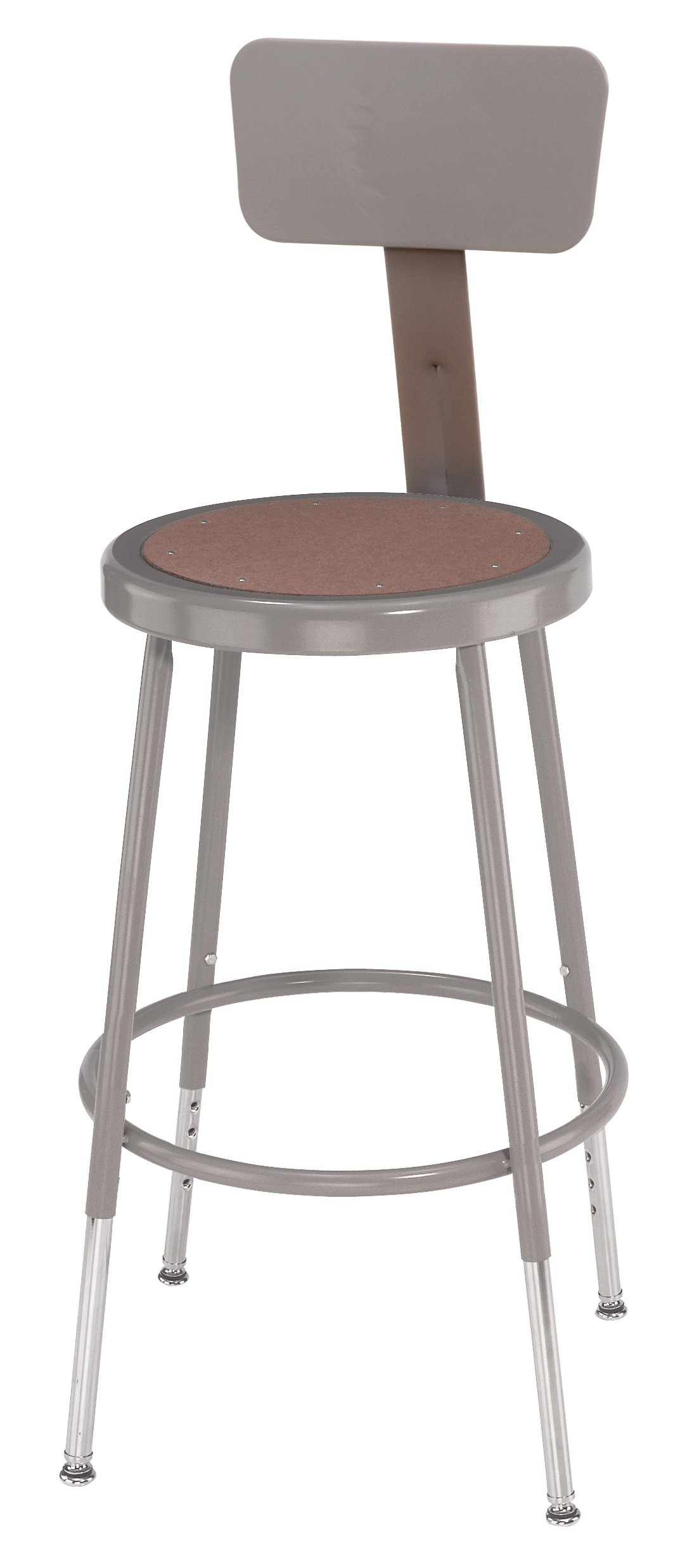 National Public Seating 6218HB-CN  Grey Steel Stool with Hardboard Seat Adjustable and Backrest, 19''-27'' (Pack of 5)