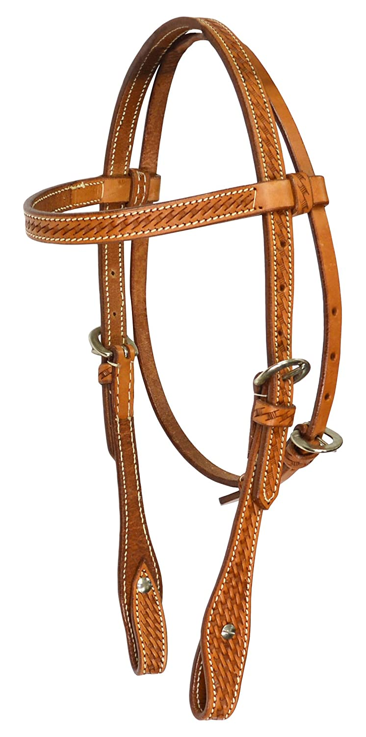 colorado Saddlery Basket Stamped Light Oil Pony Headstall 5-129, Not Applicable
