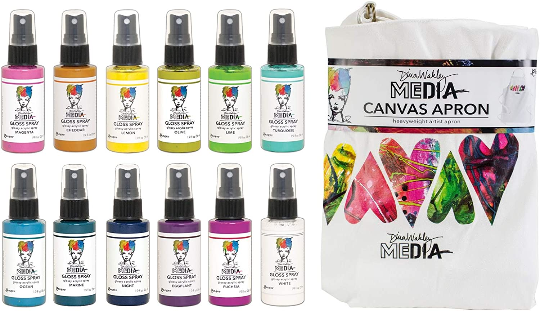 Dina Wakley Media 2020 - Gloss Paint Sprays, Canvas Apron and Stencil - 14 Items