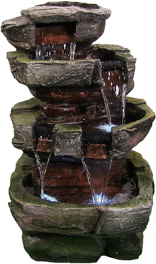 Fuente de Agua eléctrica Sunnydaze para Exteriores – Cascada de Piedra para Patio o jardín – con Luces LED – 24 Pulgadas de Altura: Amazon.es: Jardín
