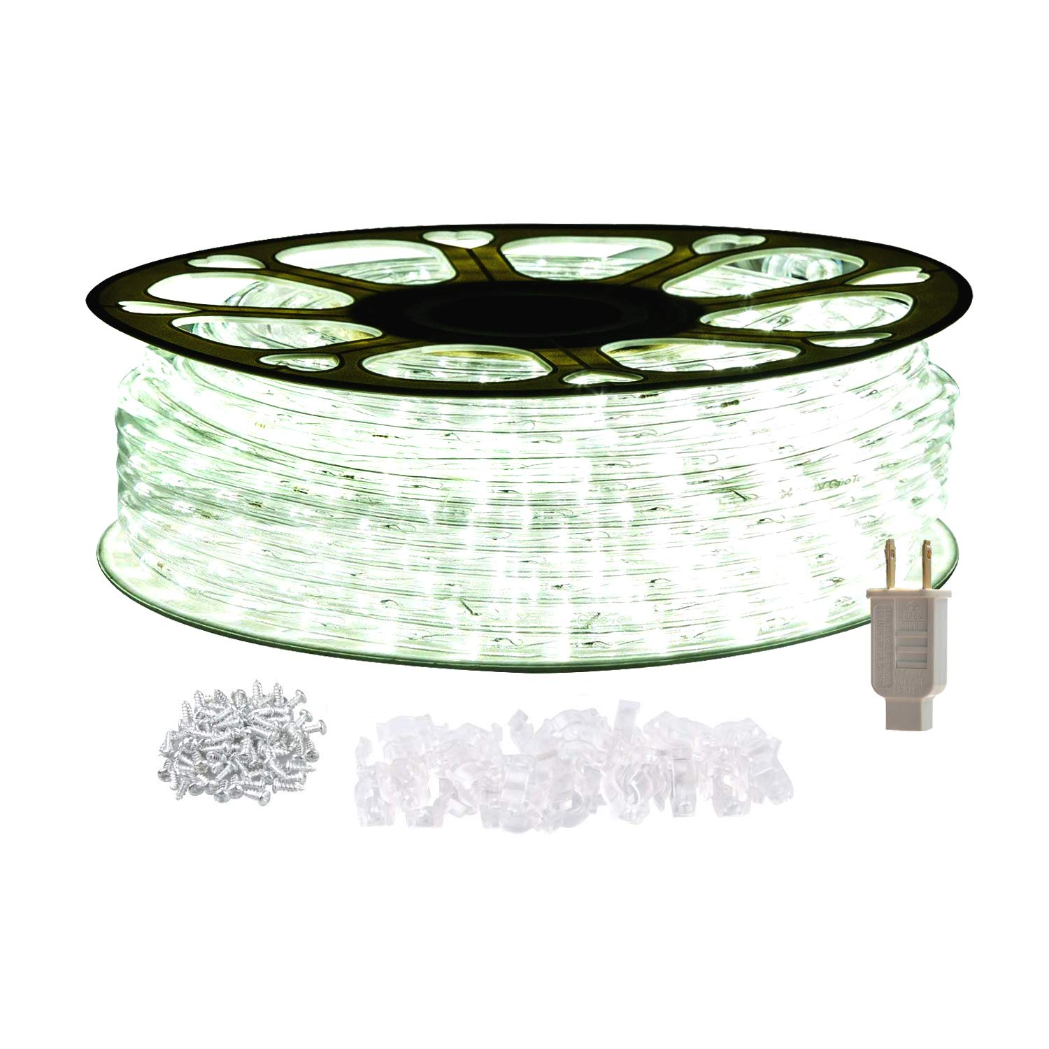 STARSHINE 120V LED Rope Lights,Connectable Waterproof LED String Lights Kit for Patio, Backyard, Garden, Wedding, Christmas Party, Indoor and Outdoor Decorations, UL Listed (50FT/15M, White)