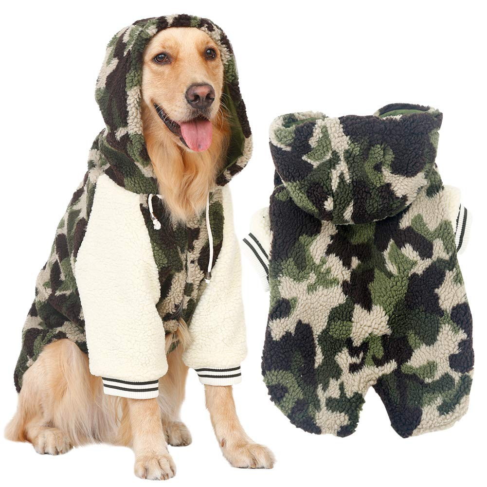 4XL Momo Pet Winter Warm Fleece Jacket Big Large Dog Coat Woodland Camouflage Dog Puppy Hoodie Pajamas Clothing Warm Cozy for golden Retriever Pitbull Dog Clothes 4XL