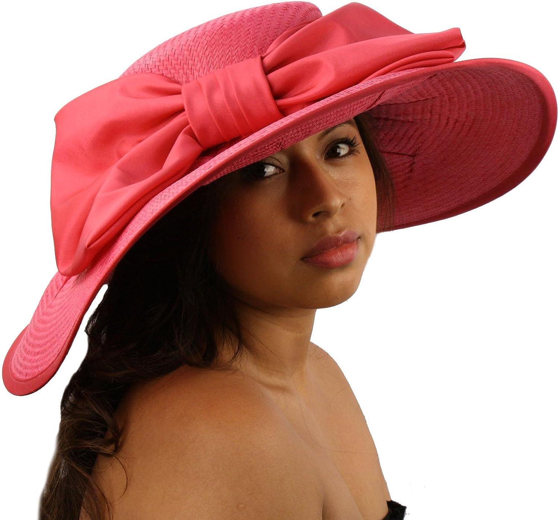 """Summer Big Ribbon Bow Floppy Sun Wide Brim 6""""+ Brim Beach Hat Adjustable"""