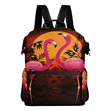 a75bbf0480 Laptop Backpack Lightweight Waterproof Travel Backpack Double Zipper Design  with Painting Cartoon Couple Flamingos School Bag