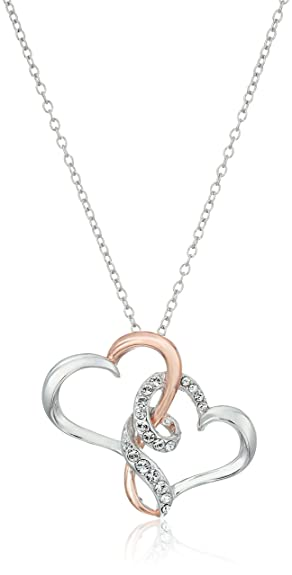 Amazon 14k rose gold plated sterling silver swarovski crystal 14k rose gold plated sterling silver swarovski crystal two tone double heart pendant necklace 18quot mozeypictures Image collections