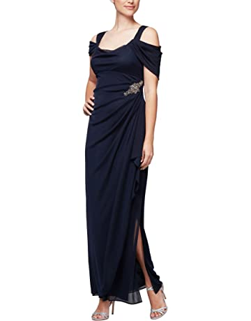 fd24b9bce50c1 Alex Evenings Women's Long Cold Shoulder Dress (Petite and Regular Sizes)